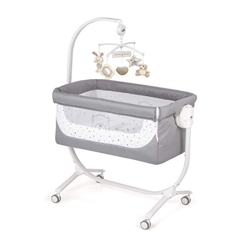 CAM 2 in 1 Beistellbett & Babywiege CULLAMI | höhenverstellbares Babybett | praktisch & schön| hochwertige Materialien - Made in Italy | flexibler Stubenwagen (Bärchen grau)
