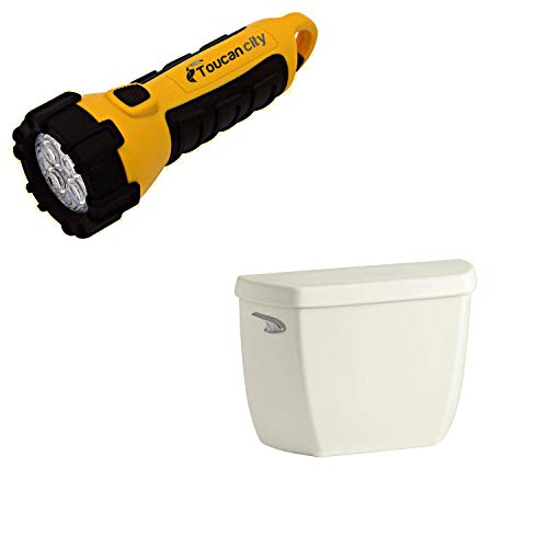 Toucan City LED Flashlight and KOHLER Wellworth Classic 1.0 GPF Single F Toilet Tank Only in Biscuit K-5307-96