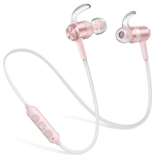 Bluetooth Kopfhörer In Ear, Wireless Kopfhörer Sport IPX6 Wasserdicht, 10 Stunden Spielzeit, HD-Mikrofon, Magnetisches Sportkopfhörer für iPhone, Android, Samsung - Rose Gold