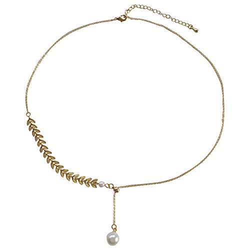 Oro Rosa aleación Collar Colgante Hojas Moda geometría Cadena de clavícula para Mujer Regalos de joyería