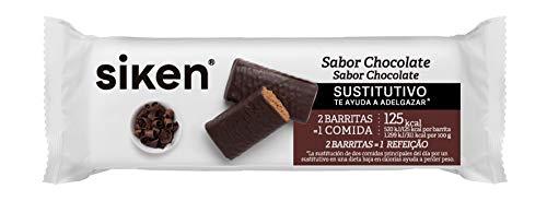 SIKEN barrita sustitutiva -  Barrita de chocolate 40g, Rico en fibra, vitaminas y minerales, 2 barritas sustituyen 1 comida,125 Kcal/barrita