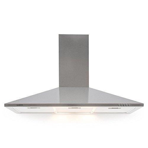 Klarstein TR90WS Campana extractora • Campana de pared • Aire de escape circulante • Iluminación • Ancho: 90 cm • 3 escalas • Capacidad: 340 m³/h • 3 filtros de grasa • Acero inoxidable • Plateado
