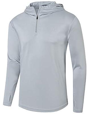 Satankud Mens UPF 50+ UV Sun Protection Athletic Hoodie Thumb Long Sleeve Fishing Shirt Gray X-Large