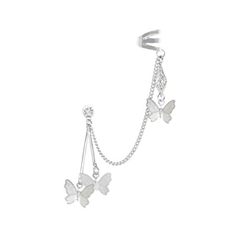 Moent Double pierced ear clip exquisite chain one piece single Butterfly earrings,Valentines Day Anniversary Birthday Jewelry Gifts for Her Wife Girlfriend sliver