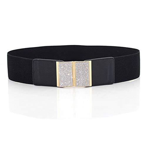 Trimming Shop dames zwart elastische band riem - Design 483 met gouden strass-steentjes gesp - breed en rekbaar dames modeaccessoire - voor vrije tijd outfits en feestelijke kleding