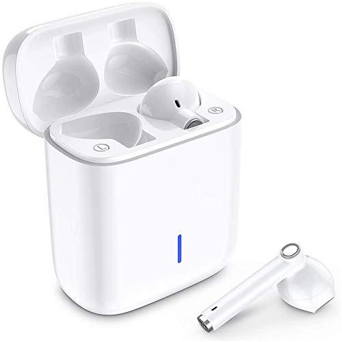 Écouteurs Bluetooth, Luvfun Oreillette Bluetooth 5.0 sans Fil à réduction de bruit stéréo intra-auriculaires casque avec sans fil avec étui de chargement portable compatible Smartphone Android - Blanc