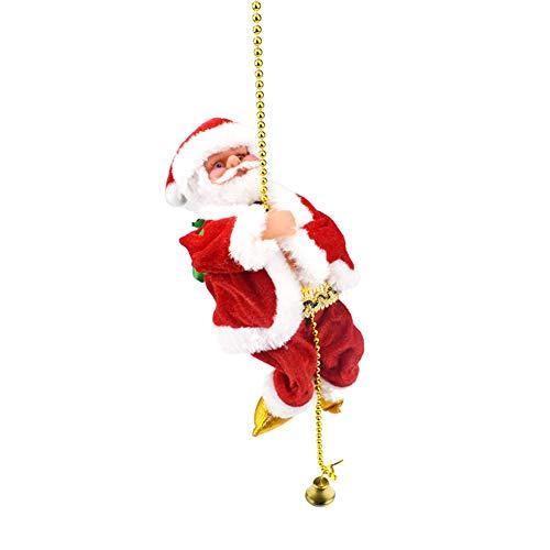 Jiacheng29 Weihnachtsweihnachtsmann-kletterndes Korn-Seil-Musik-Puppe-elektronisches Spielzeug Scherzt rot