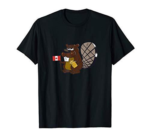 Lustige Biber-Holding-Kanada-Flaggen-Bier-Trinker-Getränk T-Shirt