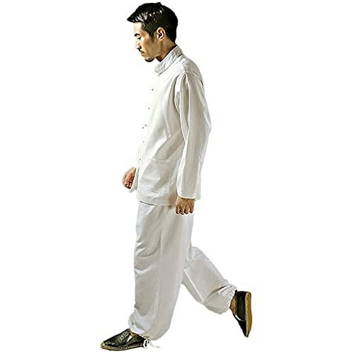 ZLZNX Uniforme Tai Chi para Hombre, Ropa China algodón para Artes Marciales Zen, Camisas Kung Fu Manga,Blanco,XL
