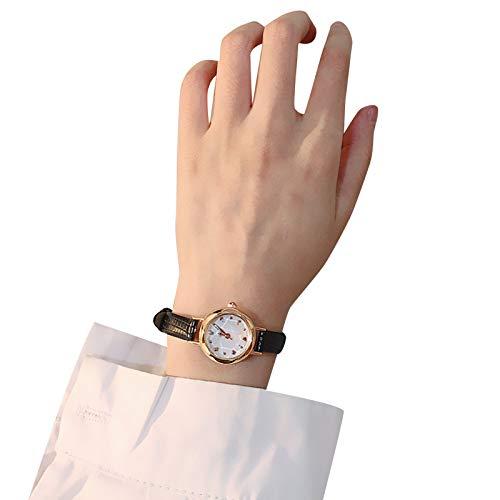 Qagazine Reloj analógico de cuarzo minimalista para mujer con esfera redonda y correa de piel sintética ultra delgada, para oficina diaria