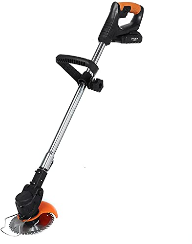 LHMYHHH 36V Li-ion Cordless Lawn Trimmer Electric Grass Telescopic Handle No-load speed 6000 rpm 1 xAlloy Blade Battery Powered Lightweight Electric-Black