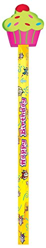 Moon Products Happy Birthday Pencils, Cupcake Erasers, Assorted Colors, Set of 36