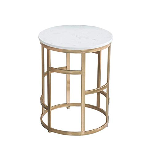 Beistelltisch Couchtisch Sofatisch Marmor Couchtisch Teetisch, Schmiedeeisen Balkon Wohnzimmer Schlafzimmer Ende Tabellen Sofa Side Kreative Tisch, 39 * 50cm Beistelltisch Couchtisch (Color : White)