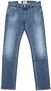 [ケアレーベル] ジーンズ イタリア製 Candiani社 Cooper hello 209 Nimega274 11oz ウォッシュド ダメージ加工 ジップフライ ストレッチ ストレート デニム パンツ W32 ブルー 91004t06