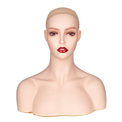 Realistic Female Mannequin Head With Shoulder Manikin Head Bust for Wigs Beauty Accessories Displaying