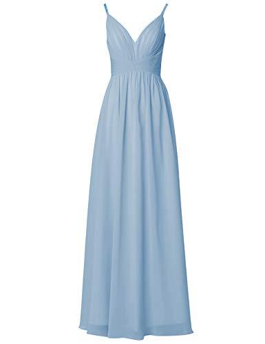 Ballkleider Rückenfrei Lang V-Ausschnitt Chiffon A-Linie Abendkleider Damen Brautjungfernkleider Hochzeit Kleider Hellblau 36