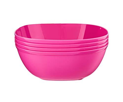 Home+ Set Of 4 Coloured Cereal Bowls Plastic 4-Piece Stackable Breakfast Oatmeal Bowls Plain Coloured Soup Pasta Dessert Bowls Salad Museli Snack Serving Bowls (Pink)
