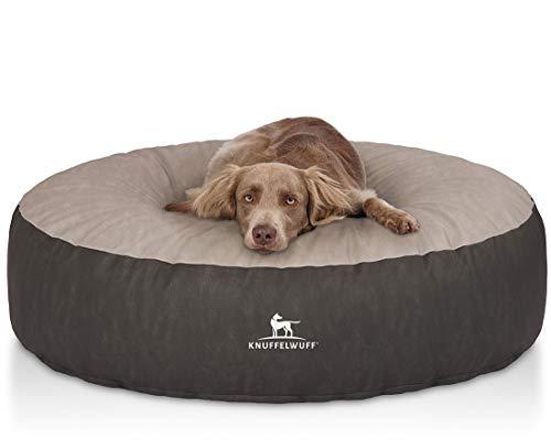 Knuffelwuff Orthopädisches Hundebett grosse Hunde XXL Little Mountain UpNdown rund aus Kunstleder 120cm Schwarz/Grau