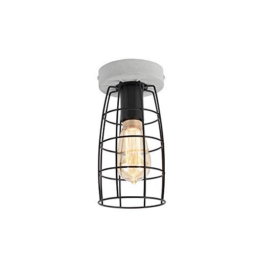 QAZQA Industrieel Industriele plafondlamp betonlook met zwart - Rohan Steen/Beton/Staal Rond Geschikt voor LED Max. 1 x 40 Watt
