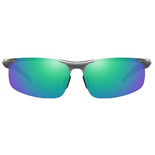 KCGNBQING Gafas de sol Polarizadas Aluminio-Magnesio Media Marco Día de Deportes Día y Noche Dual Uso UV400 Gafas de sol Tendencia Gris Marco Blue-Green Lens Men's Driving Gafas de sol Gafas de sol de