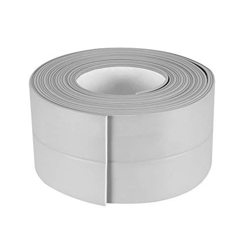 Uxcell Cinta autoadhesiva flexible para baño, inodoro, cocina y sellado de pared de 10,5 pies de longitud, 38 mm de ancho (gris, 2 unidades)