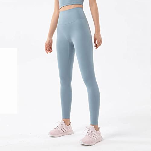 Mirar atrás Bolsillos Incorporados Lijados De Doble Cara NUDA Pantalones De Yoga Desnuda Tallas De Cintura Alta De Las Mujeres Melocotón Hip Deportes Deportes (Size:Grande,Color:Azul Vaquero)