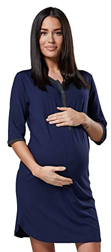 HAPPY MAMA Damen Mutterschaft Gestreift Nachthemd Frontseite öffnen Hemd 007p (Marine, 36-38, S)