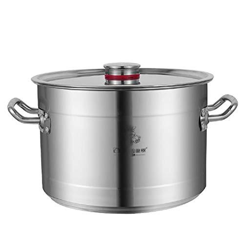 Utensilios de cocina al vapor Pottiquí, olla de sopa de acero inoxidable gruess grande con tapa para el uso comercial para la cocina/cocina de inducción de gas (10-80L) Charola para hornear