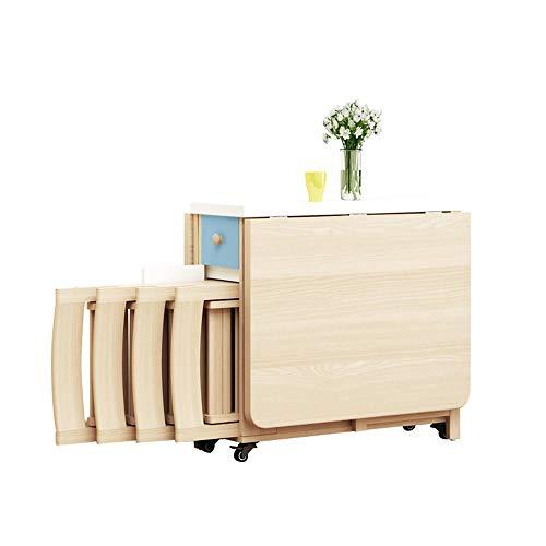 MIMI KING Muebles de Cocina para el hogar Juego de Mesa de Comedor de 4 Piezas Mesa de Madera Plegable con Ruedas Carro de Cocina Plegable Mesa y Silla Plegables portátil