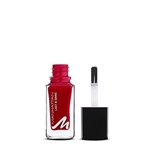 Manhattan Last & Shine Nagellack, Klassisch roter, glänzender Nail Polish für 10 Tage perfekten Halt, Farbe Candlelight Dinner 380, 1 x 10ml