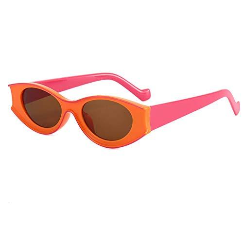 DovSnnx Gafas De Sol Unisex para Hombres Y Mujers Polarizadas Protección UV400 Clásico Vintage Moda Sunglasses Lente De Té con Armazón Naranja Ovalada con Purpurina En Contraste