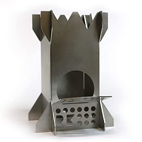 Rocket King MICRO Flat Pack Stainless Steel Wood Burning Camping Stove...