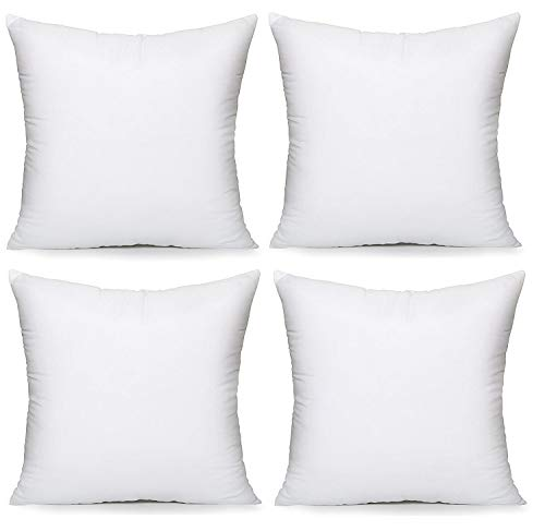 E4Emporium Hollow Fiber Cushion Pads Pillow - Non Allergenic Pillow Pad Stuffer - Hypoallergenic Cushion Pads - Sofa and Bed Pillows - White (4, (20' x 20'))