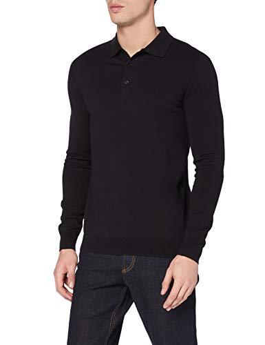 Amazon-Marke: MERAKI Herren Pullover Long-sleeve Polo, Schwarz (Black), L, Label: L