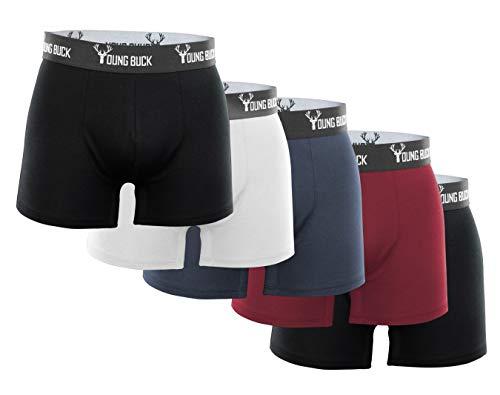 YOUNG BUCK Herren Boxershorts [5er Pack] In EU hergestellt aus zertifizierter Bio-Baumwolle I Kein kratzender Zettel + Perfekte Passform (XL, 5er Set: 2X Schwarz, 1x Weiß, 1x Grau und 1x Weinrot)