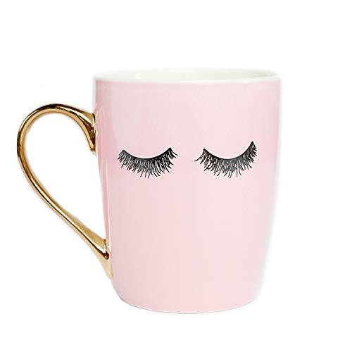 Sweet Water Decor Cute Coffee Mugs with Golden Handle | Girly Make Up & Mascara 16oz China Coffee...