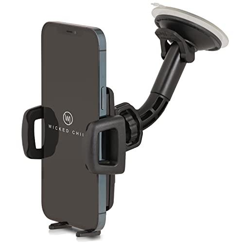 Wicked Chili Universal KFZ Halterung kompatibel mit iPhone 13 Pro Max, 12 Pro Max, XS Max, Samsung Galaxy S20 Ultra, S20+, Note 20 Ultra, Made in Germany (Breite 56-86mm, für Hülle & Hülle) schwarz