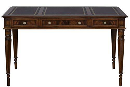 Casa Padrino Jugendstil Mahagoni Schreibtisch mit 3 Schubladen Dunkelbraun/Schwarz/Gold 126 x 73 x H. 75 cm - Büromöbel Qualität
