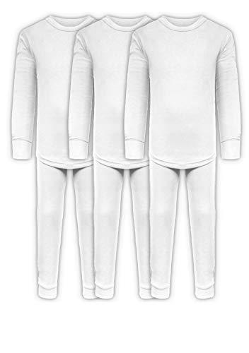 Juego de ropa interior de algodón elástico de John para niños, 3 camisas de manga larga + 3 pantalones largos, 6 piezas mezcladas y combinadas, 3 juegos/6 piezas: blanco., 2...