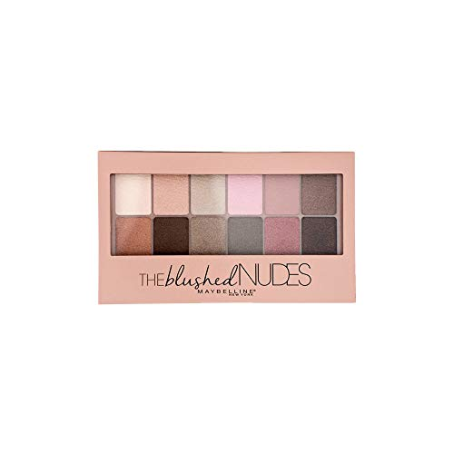 Maybelline New York The Blushed Nudes Palette Ombretti, 12 Colori Sulle Sfumature del Nudo Rosato, Finish Mat, Satinato e Perlato
