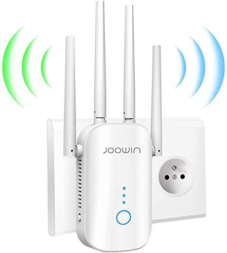JOOWIN Ripetitore WiFi Wireless 1200Mbps Wireless WiFi Extender Dual Band 5GHz/2.4GHz Amplificatore WiFi,Modo Access Point/Ripetitore/Router, Ethernet Porta, 4 Antenne
