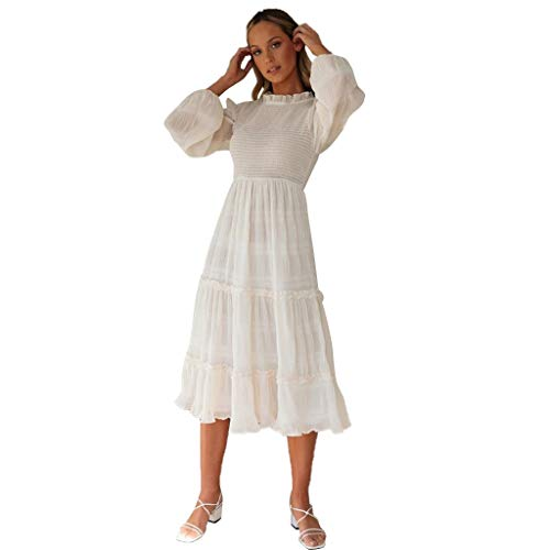 ZHANSANFM Damen Abendkleid Einfarbige O-Neck Langarm Spitzenkleid Swingkleid Retro Basic Casual...