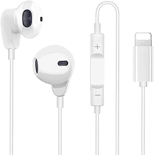 Auriculares Deportivos con Cable con Micrófono y Control de Volumen,Graves Potentes y Auriculares ergonómicos antirruido ,Compatible con iPhone 11/12/XS/XR/X/7 Plus/8 (Blanco)
