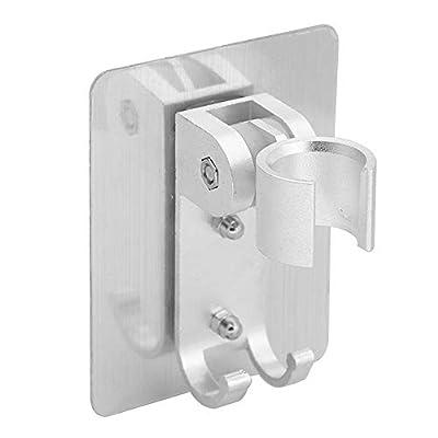 AILELAN Shower Head Holder, Strong Adhesive Adjustable Shower Wand Holder, Handheld Shower Head Wall Mount Bracket With 2 Hanger Hooks, Showerhead &Bidet Sprayer Bracket For Bathroom Bathtub(Sliver)