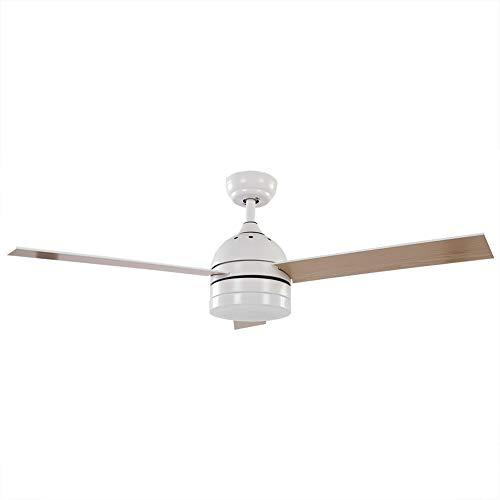 Estink Deckenventilator, 52-Zoll LED Deckenventilator mit Einzelleuchte und DREI Flügeln, LED-Licht mit Fernbedienung, 65W(Weiß)