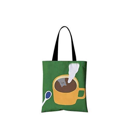 DX Einkaufstasche, Leckerer Kaffee Entspannter Nachmittagstee Studententasche aus Segeltuch Tragbare grüne Einkaufstasche Unisex Daily Commuter-Tasche Hand Faltbare Waschanlage mit großer Kapaz