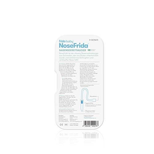 Rotho Babydesign Nasensekretsauger, Inkl. 4 Hygienefilter, Nachfüllbar, Ab 0 Monaten, NoseFrida, 50×2,3×2,3cm,  Blau/Weiß, 200830012 - 6