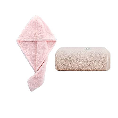 NAFE Toallas de baño y Juego de Toallas Cabello seco de 2 Piezas - 100% algodón Altamente Toalla Absorbente y de Secado rápido - Super Soft Hotel Quality Toalla, para Manos, Cara, Pelo Pink
