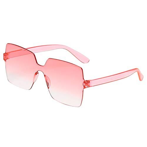 Xniral Sonnenbrille Unisex Bonbonfarbene Quadratische Gläser Rahmenlos Transparente Sonnenbrille Für Männer Und Frauen, Einteilige Sonnenbrille(I)