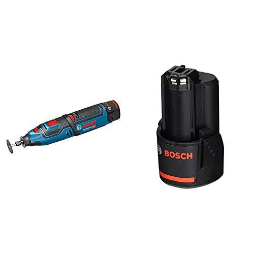 Bosch Professional 06019C5001 Multiherramienta Giratoria de Batería Bosch, 10.8 V, Negro/Azul + Bosch Professional - Batería de litio GBA 12V 2.0Ah (compatible 10, 8 V y 12 V)